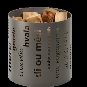 Holzkorb metall grau